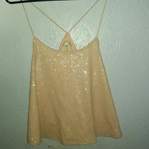 New Alythea Pink Sequin Tank Top S Trapeze